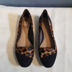 Cheetah Print Vegan Suede/Faux Calf Hair Flats